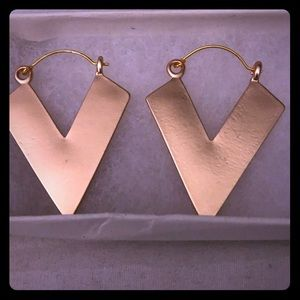 "Gold Diamond shaped earrings 2""long"